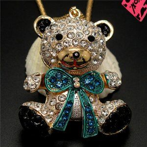 Betsey Johnson Baby Bear Necklace Blue Bow NEW